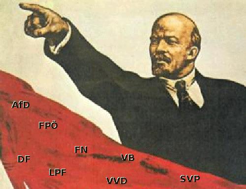 Lenin und Straches FPÖ, AFD, SVP, VB, VVD, FN, LPF, DF